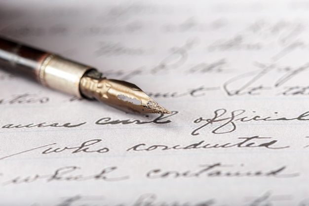Premium Photo   Fountain pen on an antique handwritten letter