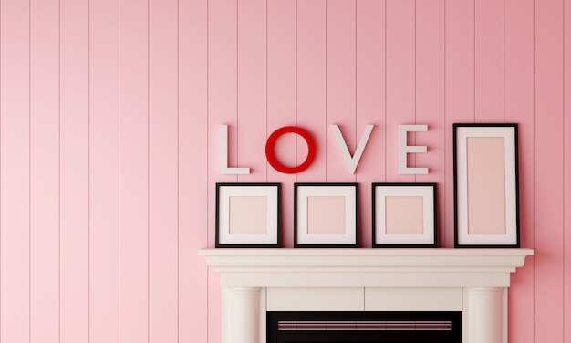 Four black blank picture frame placed on the fireplace with love word on the wall in pastel pink wood room. Premium Photo
