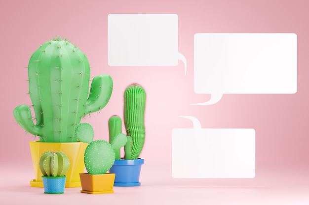 Four cactus plants are placed in a pink Premium Photo