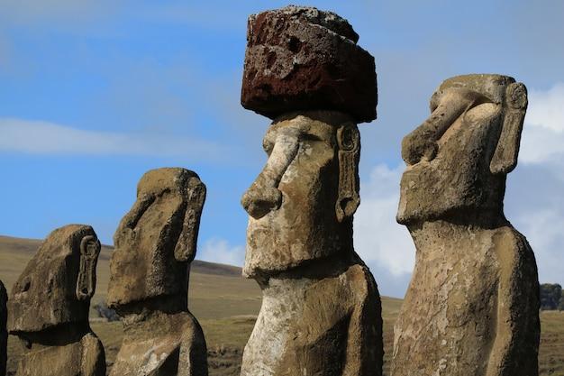 Stunning View Of 15 Huge Moai Statues Of Ahu Tongariki