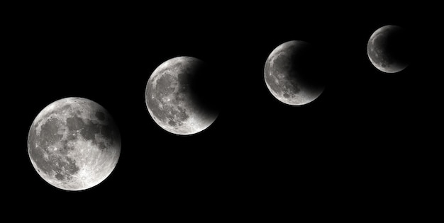 Four steps of moon eclipse, lunar eclipse, background Premium Photo