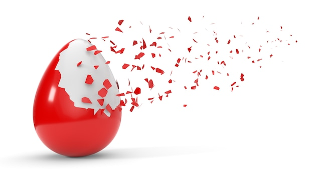 卵にペンキを割る。白で隔離され、3 dイラストレーション Premium写真