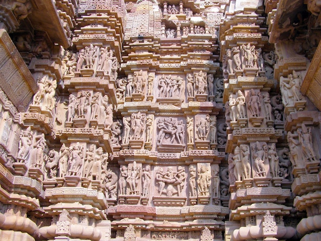 Fragment of ancient bas-relief at famous erotic temple in khajuraho, india Premium Photo