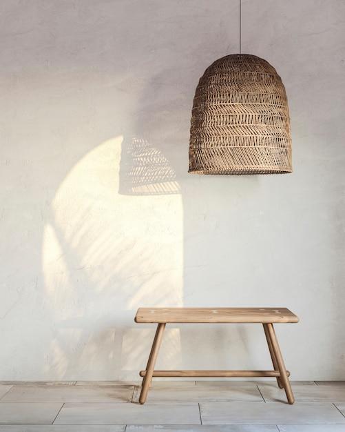 Фрагмент интерьера с плетеным абажуром и деревянной скамейке с падающим светом. 3d-рендеринг Premium Фотографии