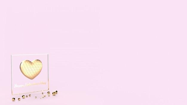 Золотое сердце и золото fram 3d-рендеринг для дня святого валентина. Premium Фотографии