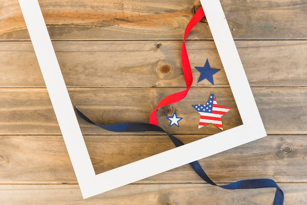 Frame and american stars with ribbons Free Photo