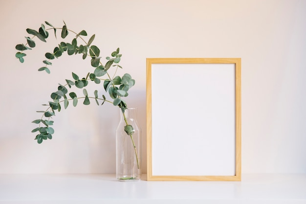 Frame and branch on left Premium Photo