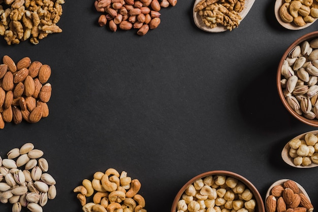 Frame from assorted nuts Free Photo