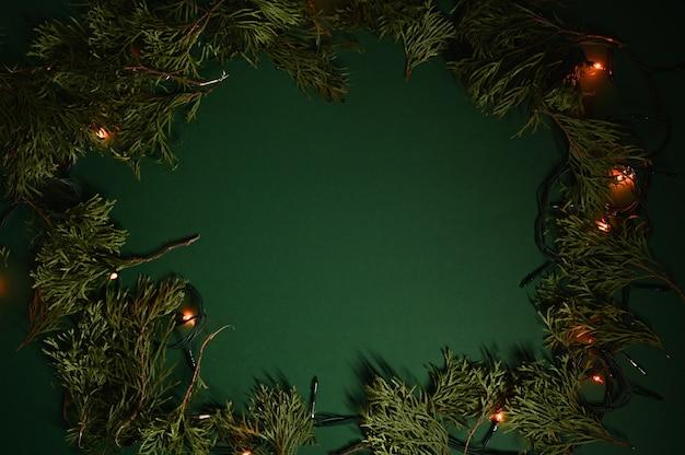 Кадр из вечнозеленых веток и рождественских огней Premium Фотографии