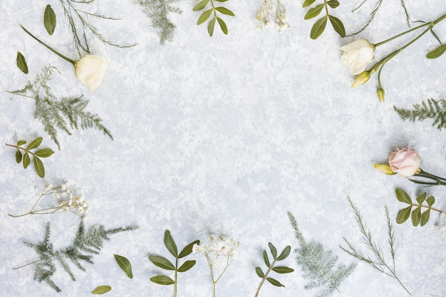 Frame from rose flowers and plant branches on table Free Photo