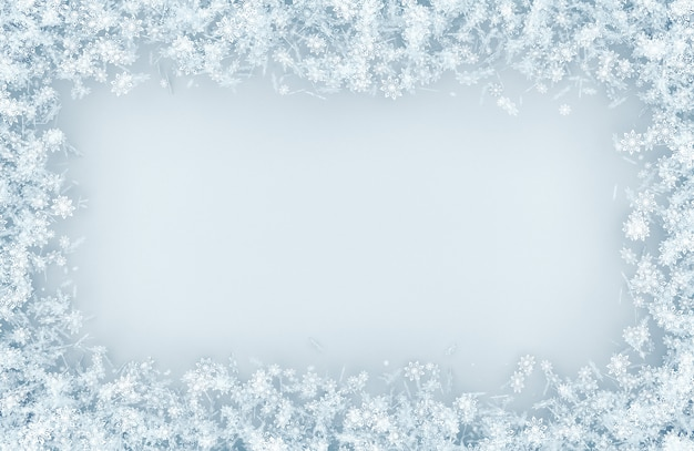 Frame from a variety of snowflakes Premium Photo