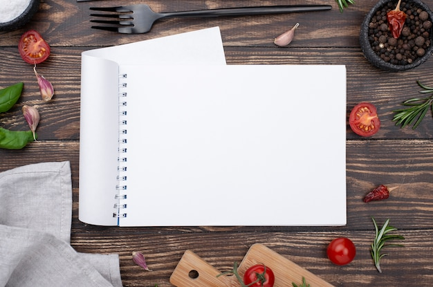 Frame of healthy ingredients for cooking on table Premium Photo