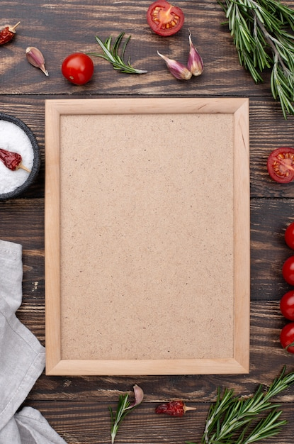 Frame of healthy ingredients on table Free Photo