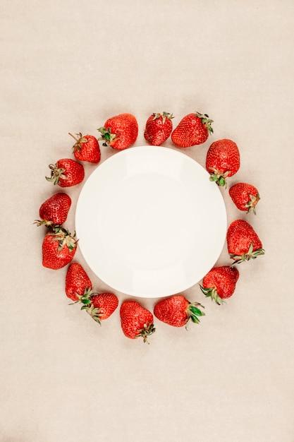 Frame made of fresh strawberry Premium Photo