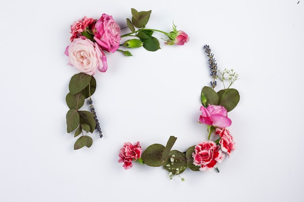 Frame made from beautiful flowers and leaves over white surface Free Photo