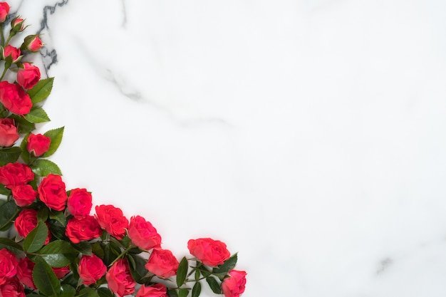 Frame made of roses flowers on marble background Premium Photo