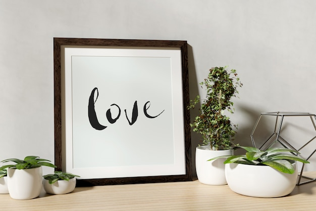 Frame mock up with plants on a shelf - 3d rendering Premium Photo