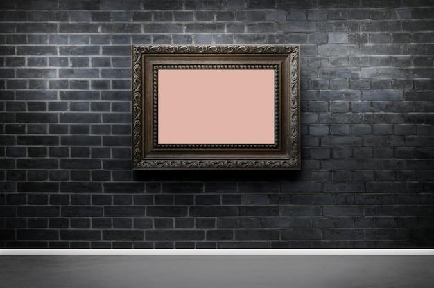 Frame mockup against a brick wall Premium Photo