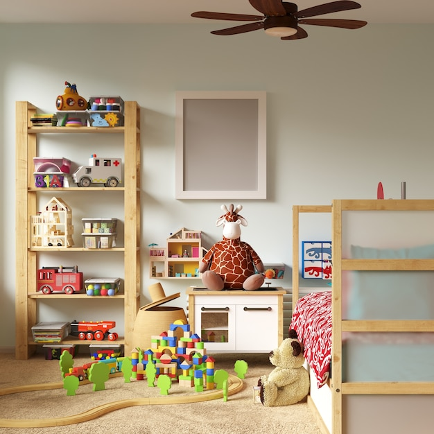 Frame mockup in kids bedroom Premium Photo