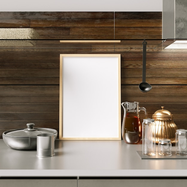 Frame Mockup On Kitchen Cabinet With Decorations Photo Premium