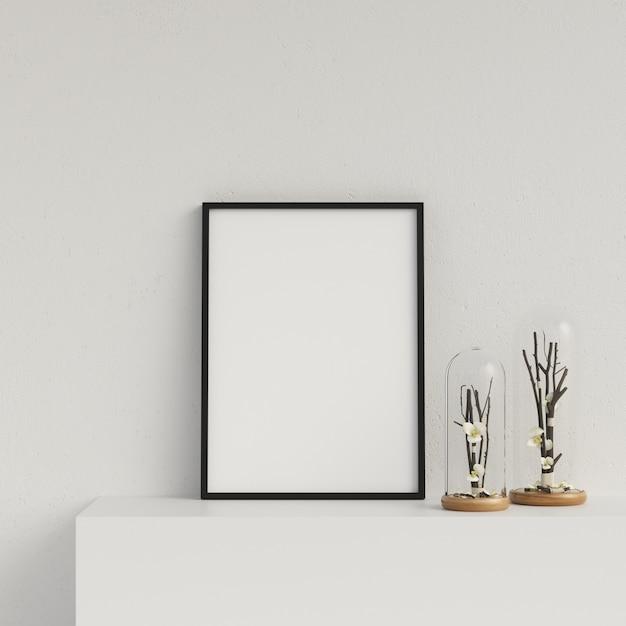Frame mockup poster mockup interior with decoration Premium Photo