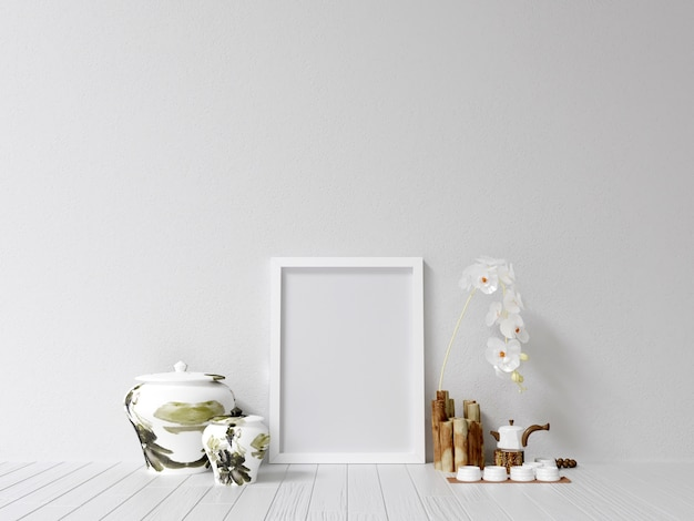 Frame mockup poster mockup with interior decoration Premium Photo