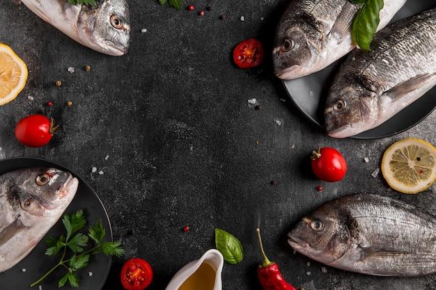Рамка из вид сверху копией пространства рыбы Бесплатные Фотографии