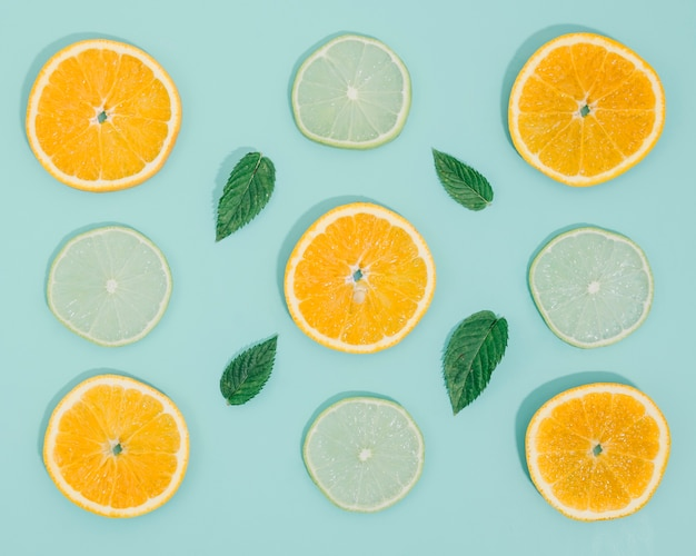 Frame of orange and lemon slices Free Photo