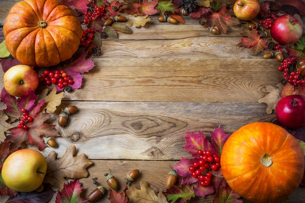 Frame of pumpkins, apples, acorns, berries and fall leaves on wooden background Premium Photo