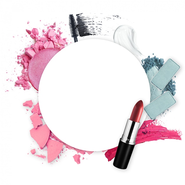 Beauty In Frame: Frame Of Various Decorative Cosmetic For Promotion Beauty