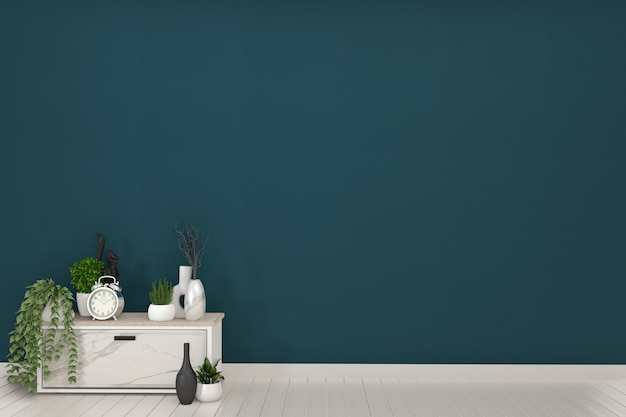 Frame and white cabinets tv in a dark green room and decoration.3d rendering Premium Photo