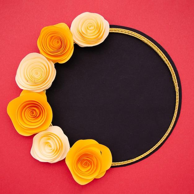 Frame with bright orange flowers Free Photo