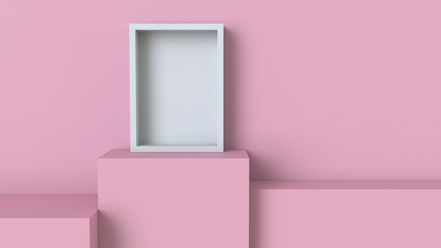 Frame with pastel pink cube podium on blank wall background Premium Photo