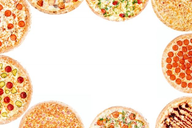 異なるピザのセットを持つフレーム Premium写真