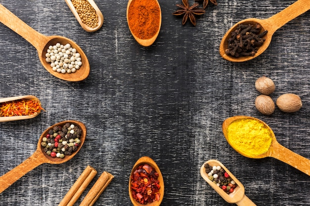 Frame with spicy powder on table Free Photo