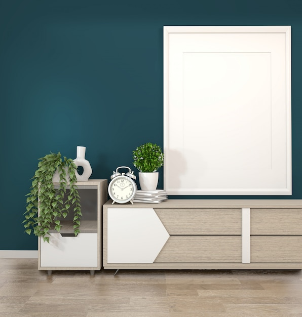 Frame on wooden cabinets tv in a dark green room and decoration.3d rendering Premium Photo