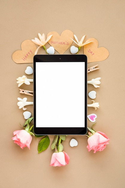 Frame in wreath of flowers for mother`s day Free Photo