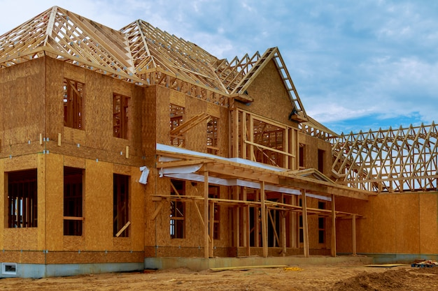 Framed building or residential home with basic Premium Photo