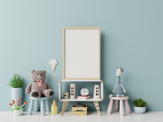 Frameframe in child room interior. Premium Photo