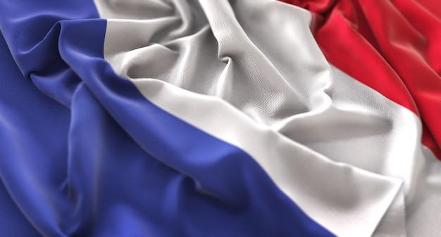 France flag ruffled beautifully waving macro close-up shot Free Photo