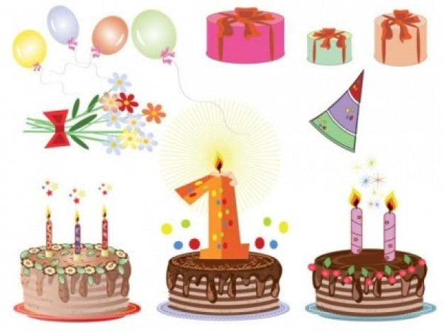 Free cartoon birthday cards  vector cake soft cute beautiful brown chocolate gifts pink green orange purple flowers lovely