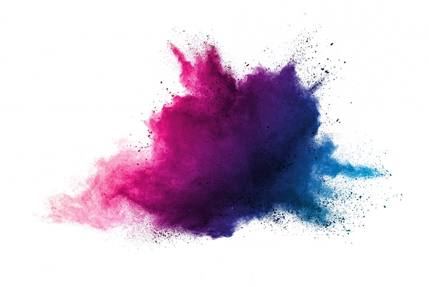 Freeze motion of purple color powder exploding on white background Premium Photo
