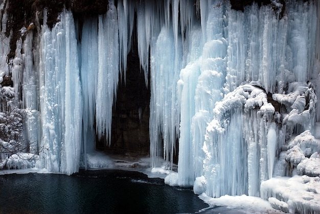 Freezing iced frozen ice waterfall nature cold Photo ...