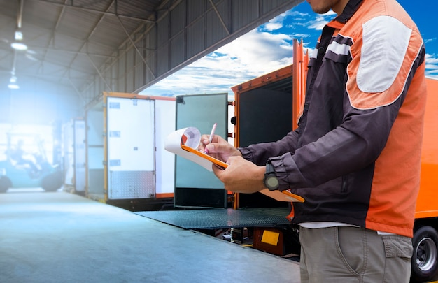 Freight transportation and logistic warehouse Premium Photo