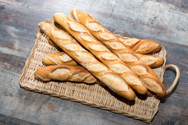 French bread on a rustic table Premium Photo