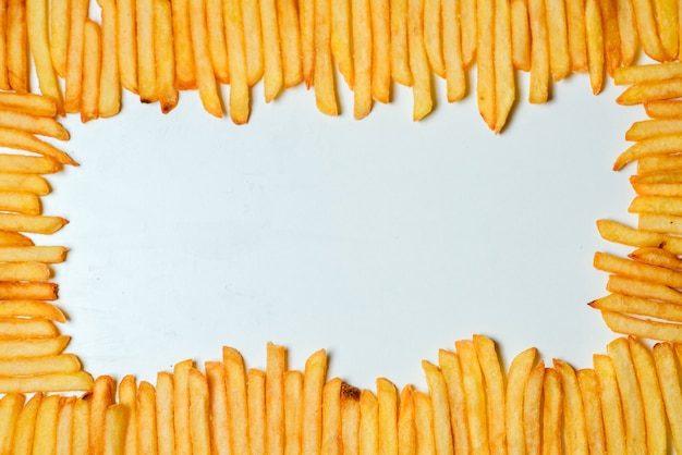 French fries on white background Premium Photo