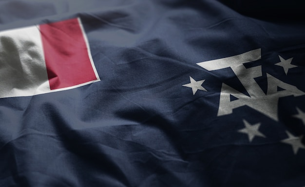 French southern flag rumpled close up Premium Photo