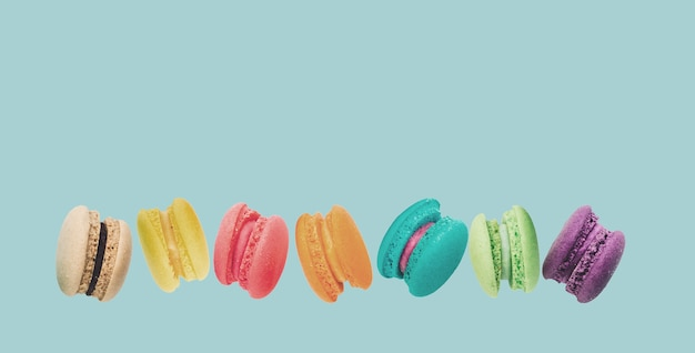 A french sweet delicacy, macaroons variety closeup Premium Photo