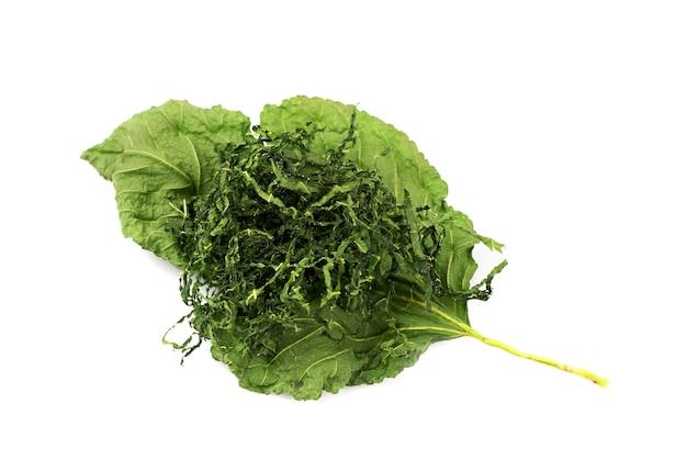 Isoated свежие и сушеные листья шелковицы на белом Premium Фотографии
