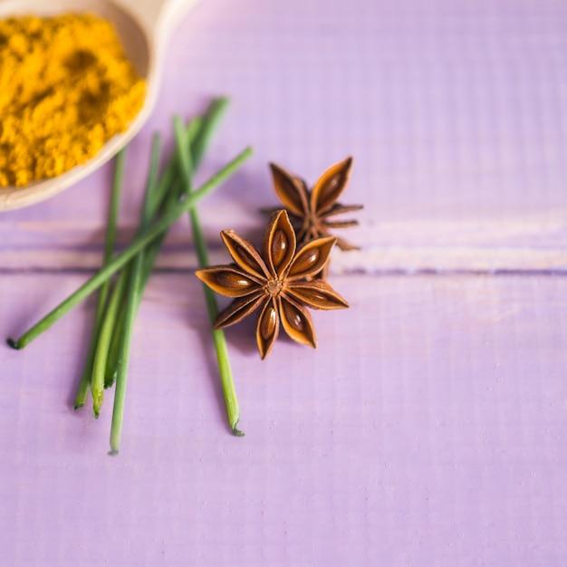 Fresh anise near spices Free Photo